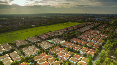 adentro y afuera: aerial view of good environmental home habitat area in out skirt of bangkok thailand