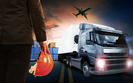 cargo transport: container truck ,ship in port and freight cargo plane in transport and import-export commercial logistic ,shipping business industry