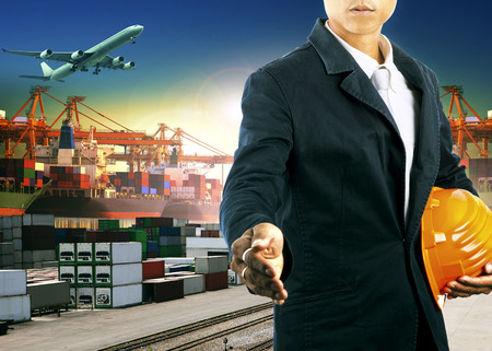 import: professional  working man  in freight import export logistic industry