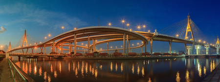 river scape: panorama scening of bhupibol bridge and ladphoe water gate important landmark in modern period thailand