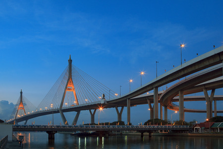 symetry: morning blue light sky and bhumibol II bridge crossing chaopraya river important modern landmark in bangkok thailand