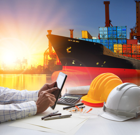 oversea: hand of working man in shipping ,logistic freigh cargo transport business