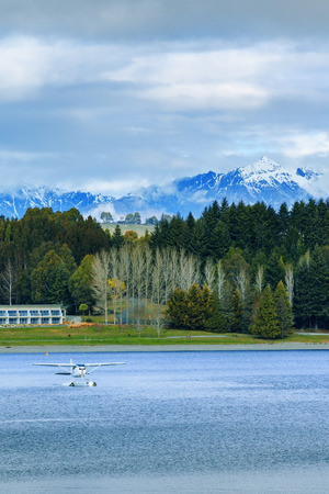 land scape: land scape and natural mountain view point of lake te anau south island new zealand