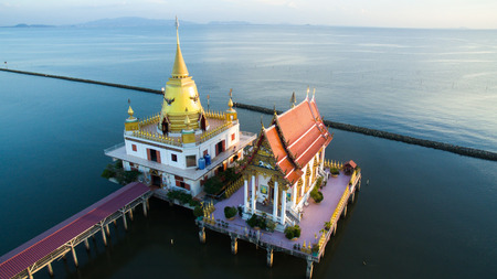 temple thailand: aerial view of wat hongtong temple important landmark and traveling destination in samuthaprakarn province central thailand