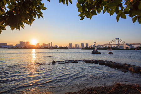 city scape: city scape of odaiba tokyo japan important landmark and traveling destination Stock Photo