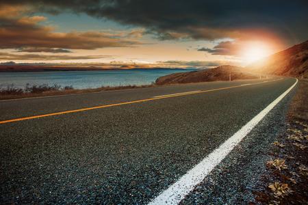 rise: landscape lookout of asphalt highway in aoraki - mt.cook national park new zealand