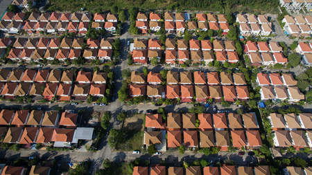 aerial: aerial view of home village in thailand use for land development and property real estate business Stock Photo