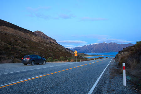 sky scape: beautiful scenic of lake hawea in south island new zealand once of destination to journey and visiting