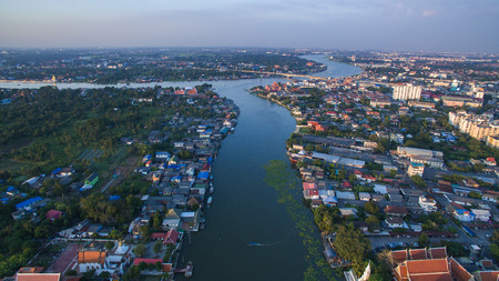 lad: aerial view of klong lad kred important landmark of chaopraya river in Prathumthani Province out skirt of Bangkok Thialand Stock Photo