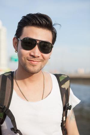 face shot: portrait head shot of asian man happy face Stock Photo