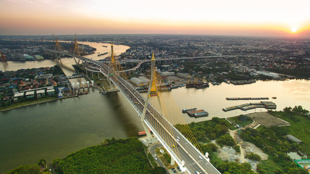 bhumibol: aerial view of bhumibol 1,2 bridge important landmark of bangkok thailand capital in land transportation crossing chaopraya river