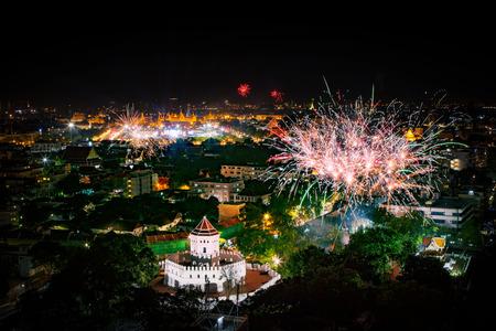 count down: beautiful firewokj night scene of new year count down in landmark of bangkok thailand Stock Photo