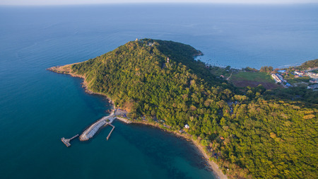bird eye view: aerial view of khao larm ya and samed island national park rayong province eastern of thailand