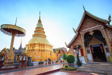 hariphunchai: Wat phra that hariphunchai pagoda temple important religious traveling destination in lumphun province northern of thailand