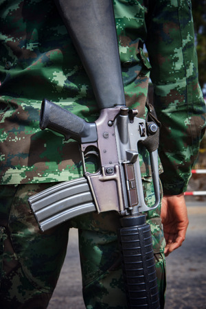 troop: military troop with long refle arm gun use for war and battle theme Stock Photo