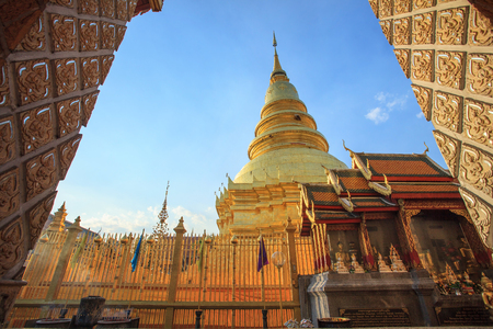 savety: prathat hariphunchai important religious landmark destination in lumphun province northern of thailand