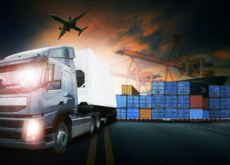 container truck ,ship in port and freight cargo plane in transport and import-export commercial logistic ,shipping business industry. Stock Photo