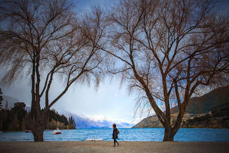 destination scenic: beautiful scenic of lake wakatipu destination in queenstown south island new zealand