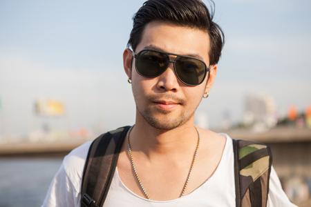 portrait close up head shot of handsome asian man 写真素材