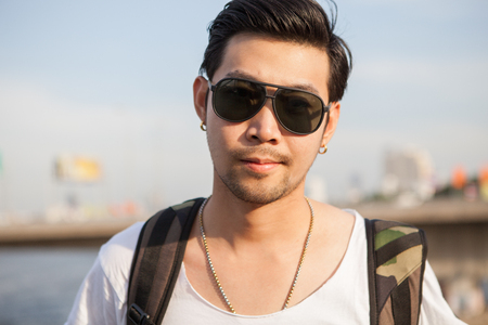 portrait close up head shot of handsome asian man Stockfoto