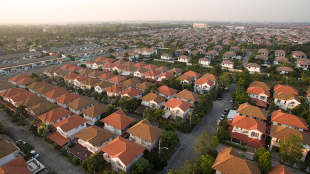 aerial view of home village in thailand use for land development and property real estate business Imagens