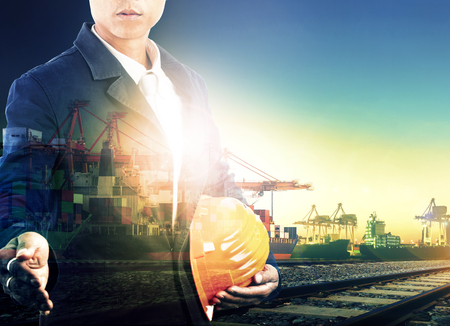 manage transportation: professional working man in shipping port and logistic transportation industry multi exposure Stock Photo