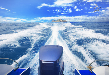 speed boat: speed boat running over blue sea