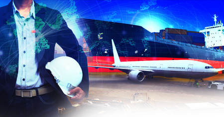 manage transportation: professional working man in air freight ,cargo logistic  and industries transportation business