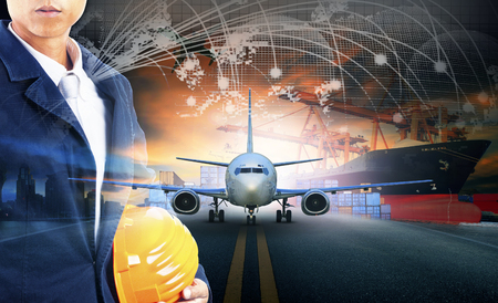 export pier and air cargo plane approach in airport use for transport and freight logistic business industry background