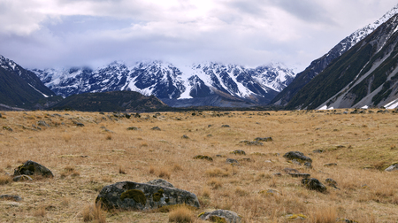 destination scenic: scenic of aoraki - mt.cook national park in south island new zealand important traveling destination