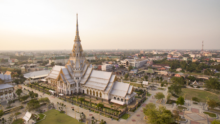 temple thailand: aerial view of wat sothorn templein chachengsao province eastern of thailand important buddhist religion church landmark in thailand