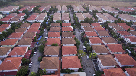 aerial view of home village in thailand use for land development and property real estate business Stock Photo