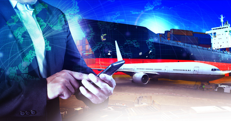 air freight: professional working man in air freight ,cargo logistic  and industries transportation business