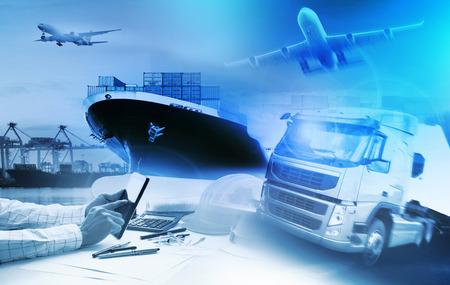 containertruckar, fartyg i hamnen och godsfraktflygplan inom transport och import och export kommersiell logistik, sjöfarten industri Stockfoto
