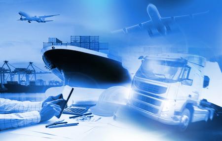 コンテナー トラックで輸送ポートおよび貨物の貨物機の出荷、輸出入商業物流、海運業界