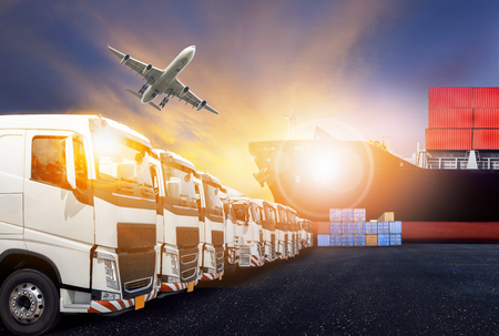 transport truck: container truck ,ship in port and freight cargo plane in transport and import-export commercial logistic ,shipping business industry