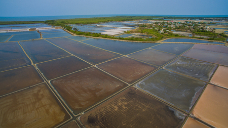 distric: aerial view of agriculture area in central of thailand preparing for producing natural sea salt in ban leam distric petchaburi thailand
