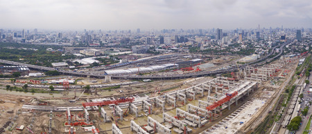 sky scraper: aerial view of mega project of sky trains and land transportation in heart of bangkok thailand