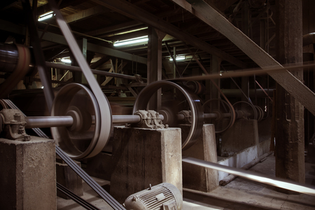 sewage treatment plant: old machine working by water steam engine in agricultural factory
