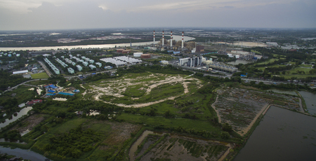land plant: aerial view of electric power genarator plant in thailand