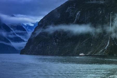 fiordland: milfordsound in fiordland national park important traveling destination in new zealand