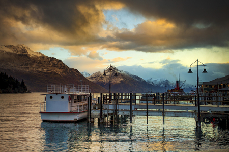 destination scenic: beautiful scenic of lake wakatipu queenstown south island new zealand important traveling destination
