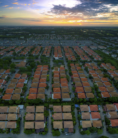 land use: aerial view of home village in thailand use for land development and property real estate business Stock Photo