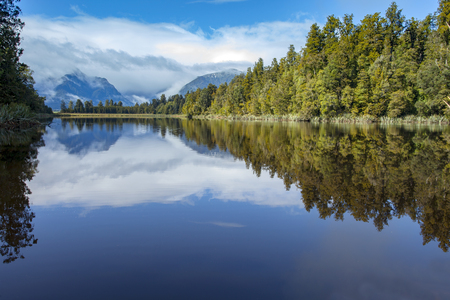 destination scenic: beautiful scenic of matheson lake important traveling destination in south island new zealand