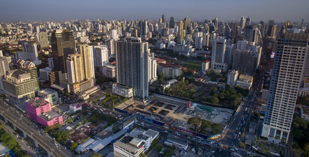 aisa: BANGKOK THAILAND - MAY 3 : aerial view of high residence and business skyscraper in heart of bangkok on may 3 , 2016 in bangkok thailand