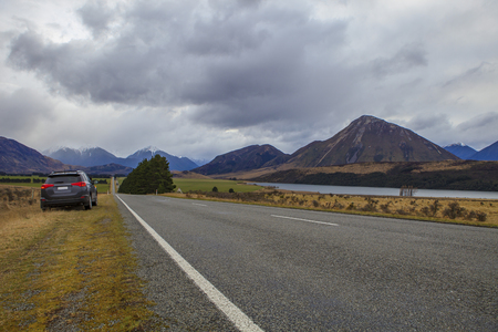 raod: arthurs pass national park  important traveling destination in south island new zealand