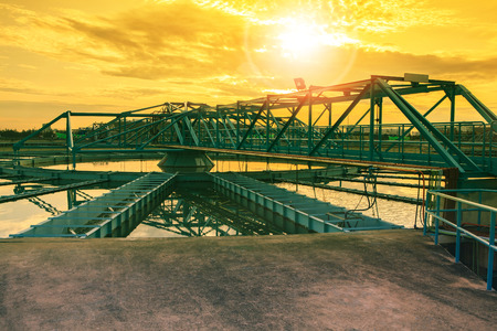 big tank of water supply in metropolitan waterworks industry plant site Stock Photo