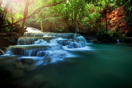 water falls: beautiful huay meakamin water falls in deep forest kanchababuri thailand