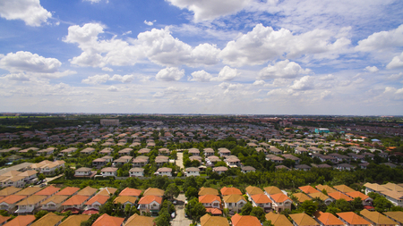 property development: aerial view of home village in thailand use for land development and property real estate business Stock Photo