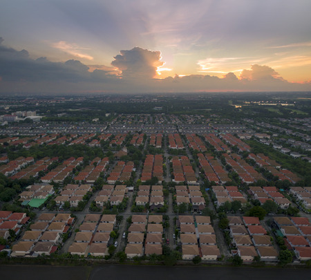 aerial view of beautiful dramatic sky at evening and home village landscape in bangkok thailand